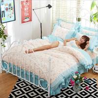 Wholesale Blue Dot Skirt Girls - New Korea Style Floral Printing Bedding Set Gift Women Girls Lace Bed Skirt   Duvet Cover   Pillowcase Comforter Bedding Sets, Blue Dots