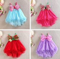 Wholesale Lace Sundress Spaghetti Strap - girl big bow dress bohemian dress spaghetti strap candy color children girls princess dresses sundresses kids free shipping in stock