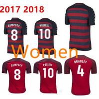 Wholesale Shirt United States Women - 2017 2018 Soccer Jersey Women Size PULISIC United States Gold Cup Red 17 18 DEMPSEY BRADLEY ALTIDORE WOOD Ladies Footbll Shirts
