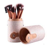 Wholesale cosmetic discounts - Big discount Makeup Brushes 12 PCS Cosmetic Set Eyeshadow Blusher Brush kit Black Holder Case Make up Brush Maquiagem Pinceis #71703