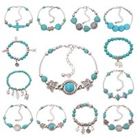 Wholesale Jewelry Rings Peace - New Women Bohemian bracelets elephant butterfly peace Turquoise Beaded silver plated handmade Charm Bracelet Jewelry Gifts Accessories hot