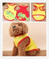Summer Pet Vest Dog Algodão Sportswear Pet Cartoon Vest Small Lizard Pattern Confortável Respire Freely Clothing CYF87
