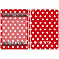 Housse gros-vinyle Decal peau autocollant Full Body pour Ipad Air Tablet Decal -0220 mignon Dots Rouge Blanc