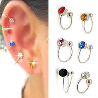 Wholesale Wholesale Stud Screw Back Earrings - Colorful 12 Pairs Clip On U Body Crystal Earrings Nose Lip Ring Ear Cuff Stud Pin Free Shipping