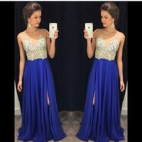 Wholesale Tops Beaded Low Back - 2016 New Sexy Royal Blue Deep V Neck Chiffon Prom Dresses Beaded Crystals Top Split Low Back Floor Length Party Evening Dresses