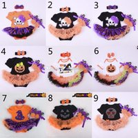 Wholesale Baby Rompers Skulls - Baby Christmas rompers 3pcs suit 2015 new Halloween Skull head pumpkin girl Short sleeve rompers Hair band shoes baby dress 3set lot