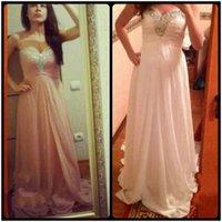 Wholesale Long Strapless Sweetheart Blush Dress - Blush Pink Long Prom Evening Dress 2016 Sweetheart Beaded Robe De Soiree A Line Empire Plus Size Vestidos De Festa
