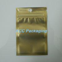 ingrosso zip lock foro borse-Piccola borsa di plastica di imballaggio al minuto della chiusura lampo della chiusura lampo di oro / di autoadesivo della chiusura lampo di 7.5 * 12cm (3.0 * 4.7