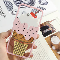 Sweet Pink 3D ICE Cream Cherry Ultra Thin Прозрачная оболочка кожи TPU для iPhone6 ​​6s 6plus + Fashion Girl Mirror Phone Cover Case