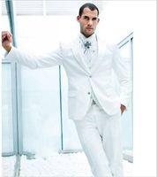 Wholesale royal blue groomsmen suit for sale - Custom Made Groom Tuxedos White Groomsmen Peak Lapel Best Man Suit Bridegroom Wedding Prom Dinner Suits Jacket Pants Tie Vest