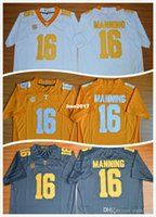 Nuevo Hot New Style 2015 Peyton Manning 16 Limited Mens College Fútbol Jersey, Cheap Tennessee Voluntarios hombres Jersey gris tamaño S-XXL