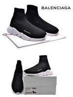 Venha Com Caixa Balen Material Itália ciaga Speed ​​Sock Popular Running Shoes For MenWomen Black White Stretch-Knit Mid Summer Sneakers 36 - 45