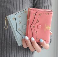 Wholesale Cluth Purse Wholesale - Hollow out Coin Purse Printing Letters Fashion Women Small Short Wallets 3 Fold Buckle Women Cluth Wallets Lady Coin Money Bag