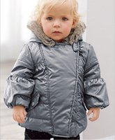 Wholesale Small Girls Down Coat - Small Baby Boys Girls Winter Down Jackets Children Silver Hooded Tench Coats Kids Clothing Infants Thickening Down Coat Outwear Warm Clothes