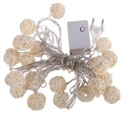 Wholesale Wicker Balls Wholesale - Free Shipping110v 220V Led String Christmas Light White Rattan Wooden Cane Wicker Balls for Holiday Party Wedding Decoration