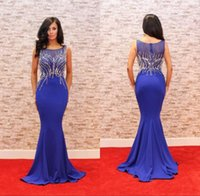Wholesale Hot Pink Modest Prom Dress - Modest Royal Blue Prom Party Dresses Mermaid Heavy Crystal Satin Red Carpet Evening Occasion Gowns Hot Sale 2017 Custom Made