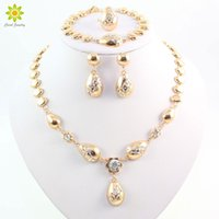 Wholesale women costumes china for sale - Women Clear Crystal Water Drop Necklace Gold Plated Jewelry Sets African Costume Necklace Earrings Set Accessories