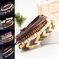 Wholesale leather band beads - New Weave Multilayer Wrap Bracelet Bead Charm Leather Adjustable Bracelet Bangle Cuffs Band for Women Men Fashion Jewelry DROP SHIP 162536