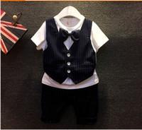 Wholesale England Tshirt - 2015 New Hot Sale England Style Boys Summer Sets Butterfly Bow-Tie Gentleman Tshirt + Stripe Middle Pants 2pcs Boys Set 90-130 5set lot L195