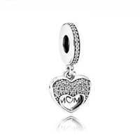 Wholesale I Love Mum - Authentic 925 Silver Beads Silver I Love My Mum Hanging Charm Fits European Style Jewelry Bracelets