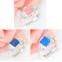 Wholesale 925 Silver Pink Opal - Wholesale Mix Color 10 PCS LOT Unique Weddings Jewelry Square Pink Blue Color Fire Opal Gemstone 925 Sterling Silver Weddiing Ring