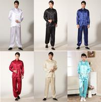 Wholesale Kung Fu Clothing Jacket - Free Shipping Martial Arts Set Tai chi chinese style top long sleeve tang suit set chinese traditional clothes Kung fu jacket + pants 5color