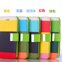 Wholesale Iphone 4s Cover Colour - MULTI-COLOUR Stripe Wallet cases Credit Card Stand Holder PU Leather Cover for iPhone 6 Plus 6+ 4 4S 5 5S Samaung galaxy S3 S4 S5 note 3 4