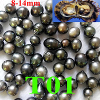 Wholesale 14mm Pearls - free shipping single black Tahitian pearl 8-14mm in one oyster