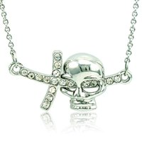 Wholesale crystal skull rhinestone necklace - 2016 Brand New Pendant Necklace Fashion White Rhinestone Skull Charms Silver Plated Necklace For Men Jewelry QRXL0034
