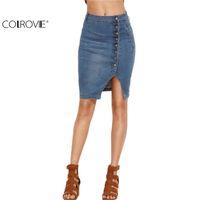 Wholesale Women Wholesale Slit Skirt - Wholesale- COLROVIE Blue Asymmetric Button Front Slit Pencil Denim Skirt Women Summer Style High Waist Sheath Skirt