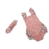 Wholesale winter western clothes for sale - Everweekend Baby Girls Pink Floral Rufflers Rompers with Headbands Cotton Summer Baby Cute Clothing Western Toddler Kids Clothes