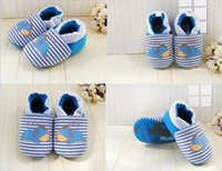 Wholesale Sleep Shoes - Free shipping!soft bottom baby shoes,blue toddler shoes,sleeping bear children's shoes,striped casual shoes,boys shoes.9pairs 18pcs.J