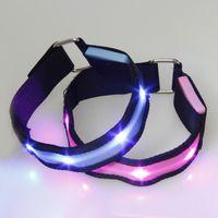 luces de seguridad led brazaletes intermitentes al por mayor-Al por mayor-iluminación al aire libre LED banda de brazo de seguridad cinturón ciclismo jogging caminando reflexivo 6 colores que brilla intensamente luz intermitente LED brazalete