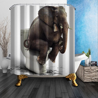 Wholesale Cheap Fabric Curtains - Elephant Shower Curtain Bathroom Curtain Waterproof Fabric Thinkers Polyester High Quality Cheap Animal Shower Curtains Shelter 180*180cm