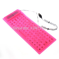 -Atacado-85 Key USB 2.0 Silicone dobrável PC Computer Keyboard Wired -Pink