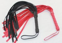 Wholesale Cheapest Vibrators - Cheapest 4Pcs Sexy Toys New Black Red Leather Like Whip   Flogger Kinky Sexy, Free shipping