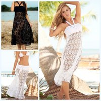 Wholesale Wholesale Black Peplum - New Hot Womens Crochet Lace Bikini Coverups Skirt & Dress Black White Hollow Out Wrap Dress Smooth Boho Vacation Beachwear Dress 846 50pcs