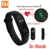 Wholesale Heart Battery Monitor - Original Xiaomi Mi Band 2 Smart Fitness Bracelet watch Wristband Miband OLED Touchpad Sleep Monitor Heart Rate Mi Band2 Free Screen Film