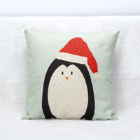 Wholesale Penguin Christmas Decorations - Penguin Snowman Cushion Cover Christmas Festival Cosplay Pillow Cases 45X45cm Bedroom Sofa Decoration Pillow Covers Kids Gift