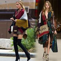 Wholesale New Poncho Fashion - 2015 new street fashion brand Winter warm women scarf Poncho vintage plaid scarves shawl wool and cashmere blanket bufanda FG1511