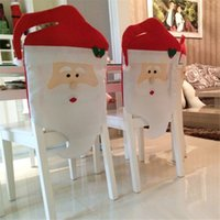 Wholesale Kitchen High Chairs - High quality 44cm*74cm 44*54cm Santa Claus Hat Chair Covers Christmas Decoration Kitchen Dining Table Decor Home Party Decoration Chair sets