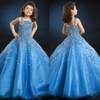 Wholesale Black Beautiful Models - So Beautiful Luxury Crystal Little Girl Flower Girl Formal Pageant Dresses 2016 Blue Spaghetti Floor-length Backless Little Kids Ball Gow