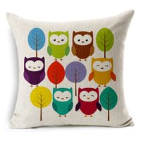 Wholesale trees flower floral painting - Gloomy Owls Series Cushion Cover Hand Painting Bird Owl Floral Flower Tree Leaf Pillow Case Decorative Linen Cotton Cushions Pillows Covers