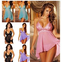 Wholesale 2015 New Sale Hot colors Sexy Lingerie Lady s Diaphanous Pajama Lace Skirt Sleepwear Size XXXL and Free Size