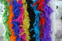 boa de plumas amarillas al por mayor-10pcs 200cm / pcs blanco negro naranja rojo rosa azul verde amarillo púrpura Boas de plumas 80gram Chandelle Pluma Boas Marabou Boa de plumas