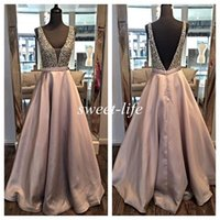 Wholesale Short Pageant Dresses Sheath - Ream Images Long Evening Dresses Backless Ball Gown Deep V Neck Beading Satin Sleeveless 2016 Occasion Dress Cheap Pageant Party Prom Gowns