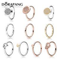 anillo de perlas de racimo negro al por mayor-DORAPANG 925 anillo de plata esterlina moda popular encantos anillo de boda para mujeres amantes en forma de corazón autógrafos anillos joyería DIY