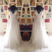 Wholesale Long Sleeve Body Tulle - New Arrival Wedding Dress Beading White Lace Body Half Sleeves Long Elegant Wedding Dress Real Picture Wedding Gown