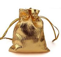 altın gümüş takı torbalar toptan satış-Toptan-50 adet / grup Gümüş veya altın Kaplama Saten Hediye Çanta İpli takı hediye çanta bags7 * 9 cm