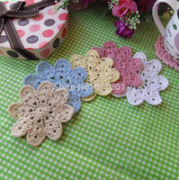 Wholesale Crochet Cup Placemat - free shipping 2015 fashion 5 colors 50 pics lot cotton crochet fabric coaster cup pad napkin round felt placemat doilies wedding